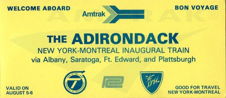 <i>Adirondack</i> inaugural ticket, 1974.
