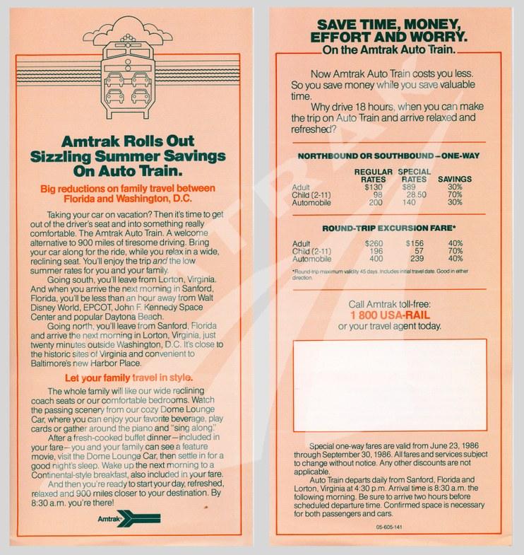 <i>Auto Train</i> flyer, 1986.