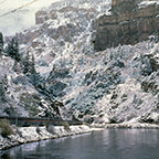<i>California Zephyr</i> skirting the Colorado River in Glenwood Canyon, Colo., 1980s.