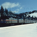 <i>California Zephyr</i> near Dutch Flat, Calif., 1980s.