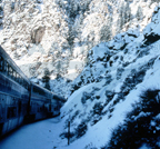 <i>California Zephyr</i>  rounding a bend in Glenwood Canyon, Colo., 1980s.