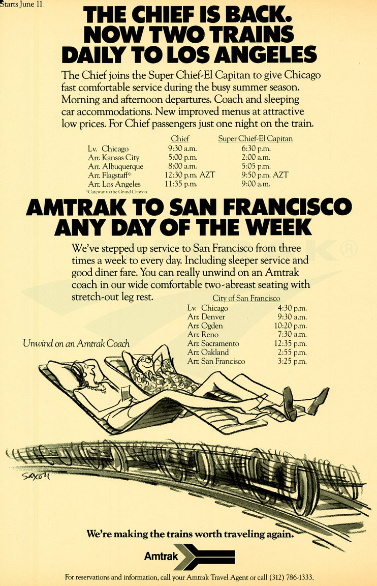"""""""<i>Chief</i> is Back"""" advertisement, 1972."""