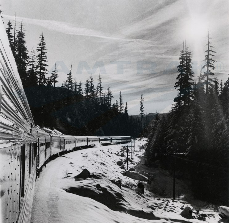 <i>Coast Starlight/Daylight</i> in the Cascades Mountains, 1970s.