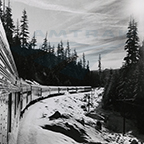 <i>Coast Starlight/Daylight</i> in the Cascades Mountains, 1970s.