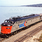 <i>Coast Starlight/Daylight</i> led by E9A locomotive No. 418, 1970s.