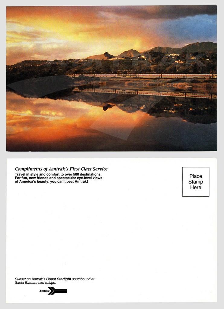 <i>Coast Starlight</i> at sunset postcard.
