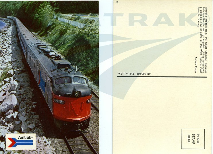 Coast Starlight Postcard Early 1970s Amtrak History Of America S Railroad