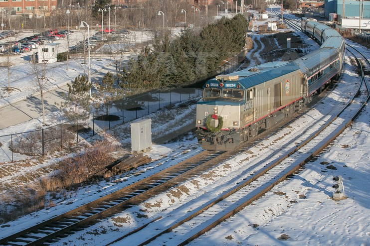 <i>Downeaster</i> train in the snow, 2016.