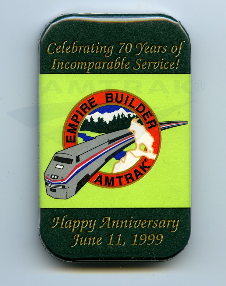 <i>Empire Builder</i> 70th anniversary button, 1999.