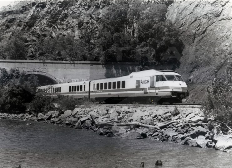 <i>Empire State Express</i> emerging from Cold Spring Tunnel, 1970s.