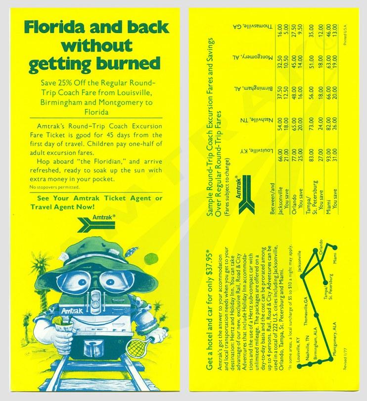 <i>Floridian</i> discount fares flyer, 1977.