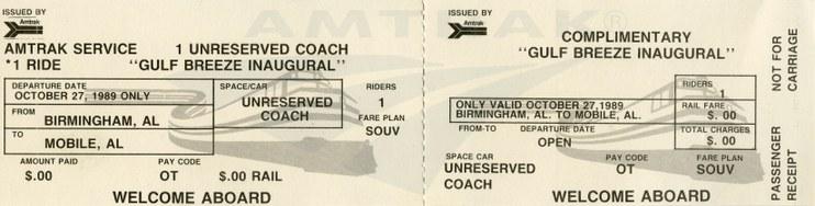 <i>Gulf Breeze</i> inaugural ticket, 1989.