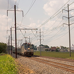 <i>Keystone Service</i> train in the Pennsylvania countryside, 2013.