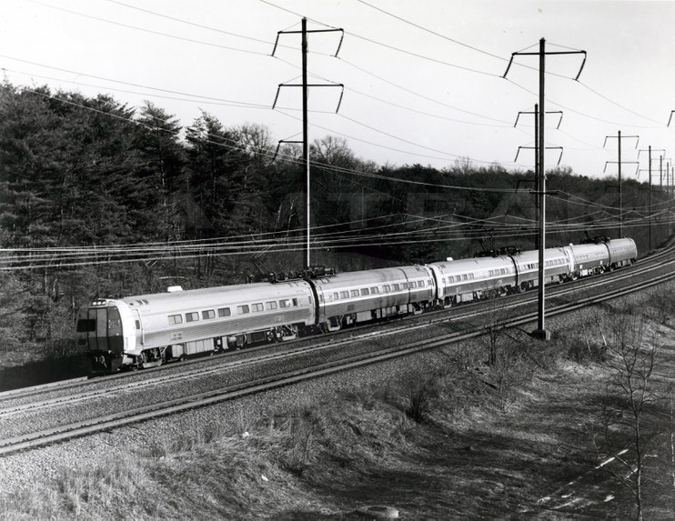 <i>Metroliner Service</i> train on the Northeast Corridor, 1970s.