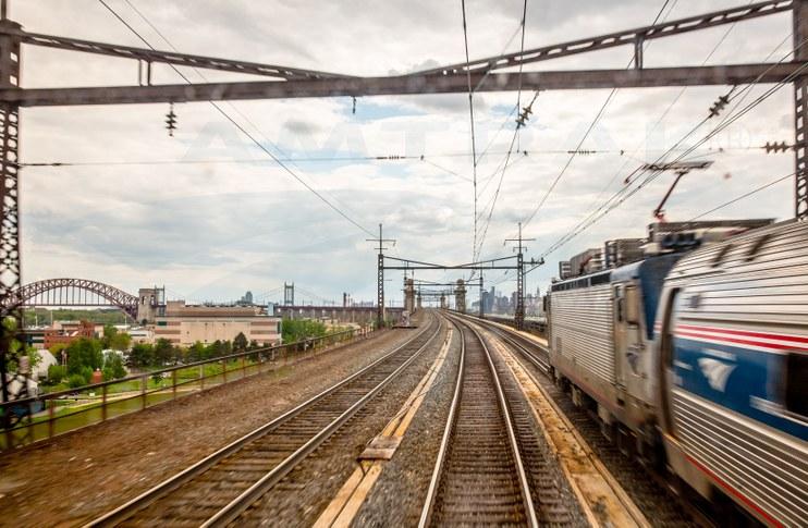 <i>Northeast Regional</i> train approaching the Hell Gate Bridge, 2014.