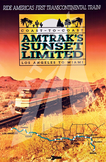 Sunset Limited Poster Amtrak History Of America S Railroad