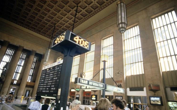 Information desk at Philadelphia 30th Street Station, 1979.