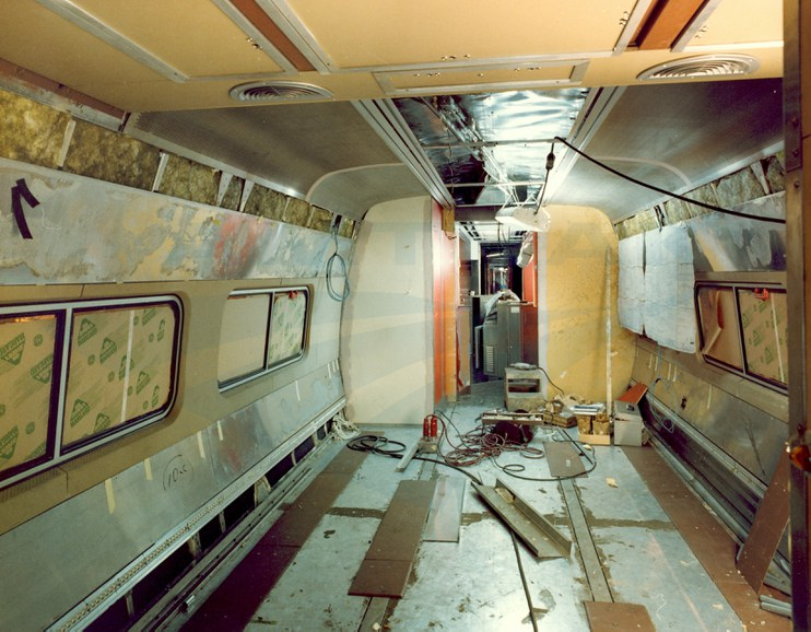 interior of an amfleet ii food service car under construction 1980s amtrak history of. Black Bedroom Furniture Sets. Home Design Ideas