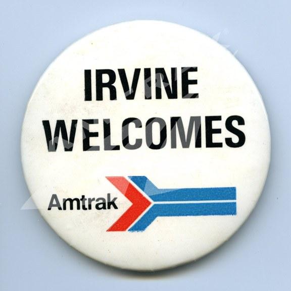 """Irvine Welcomes Amtrak"" button."