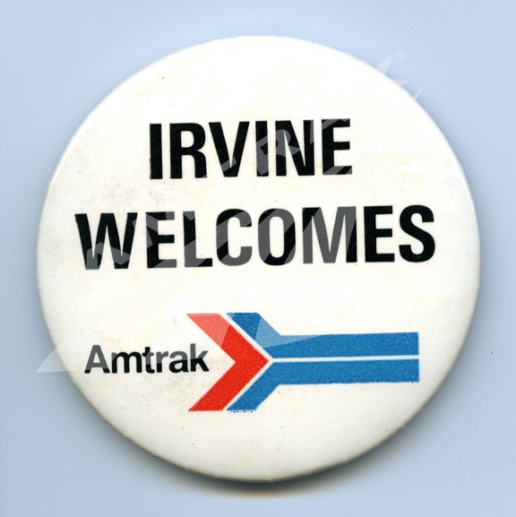 """Irvine Welcomes Amtrak"" button"