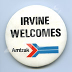 """Irvine Welcomes Amtrak"" button."