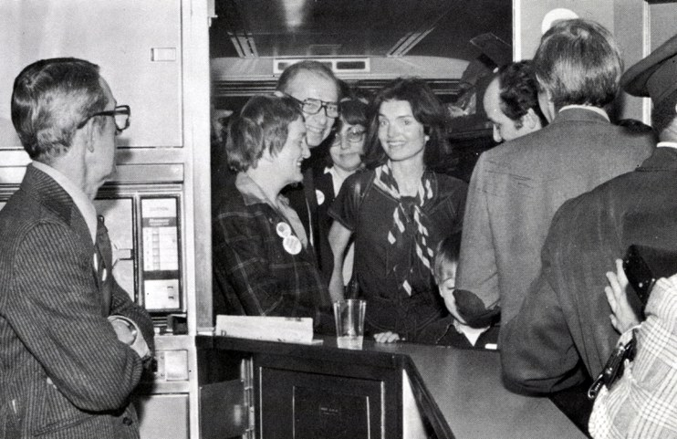 Jacqueline Kennedy Onassis in an Amcafe, 1978.