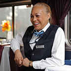 Lead service attendant on the <i>Auto Train</i>, 2016.