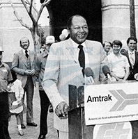 Los Angeles Mayor Tom Bradley kicks off Amtrak Family Days, 1980.