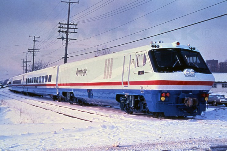 LRC train in the snow, 1980s.
