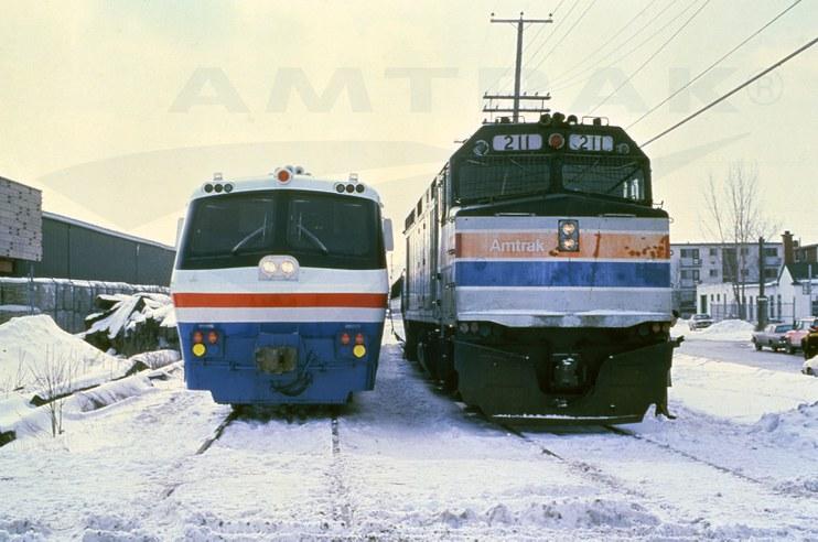 LRC locomotive and F40PH locomotive No. 211, 1980s.