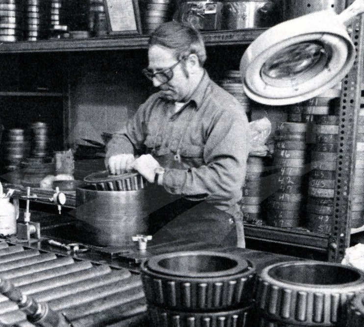 Machinist repacking bearings at Beech Grove, 1980.
