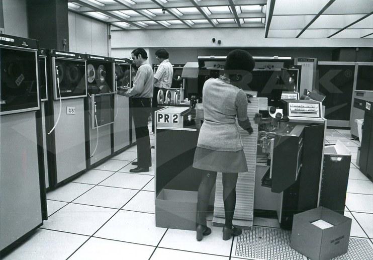 Main Amtrak computer center, 1975.