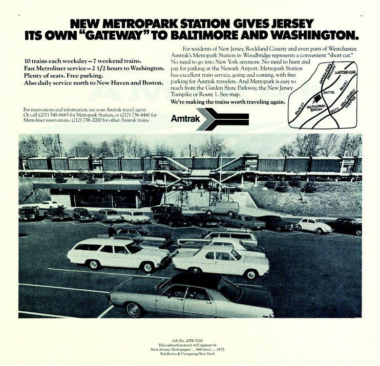 """New Metropark Station Gives Jersey Its Own 'Gateway'"" advertisement, 1972."