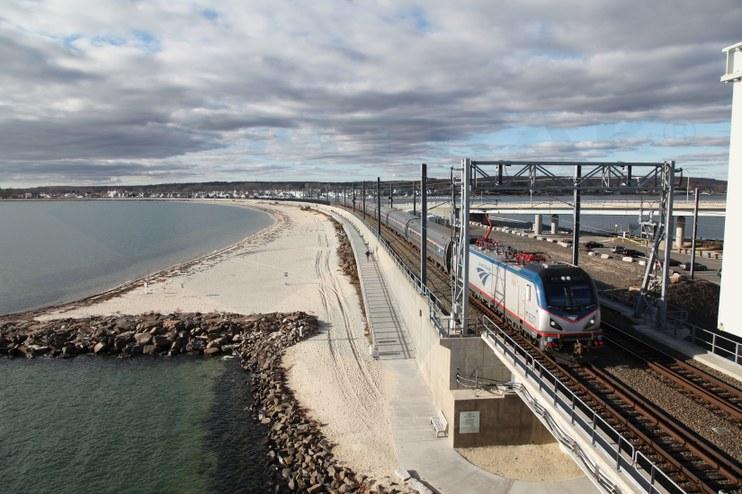 <i>Northeast Regional</i> train crossing the Niantic River Bridge, 2015.