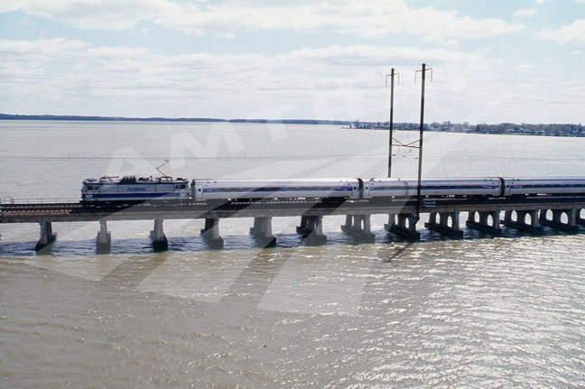 <i>NortheastDirect</i> train crossing the Gunpowder River, 1997.