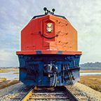 Nose of a SDP40F locomotive, 1970s.