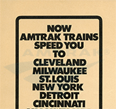"""Now Amtrak Trains Speed You To..."" advertisement, 1971."