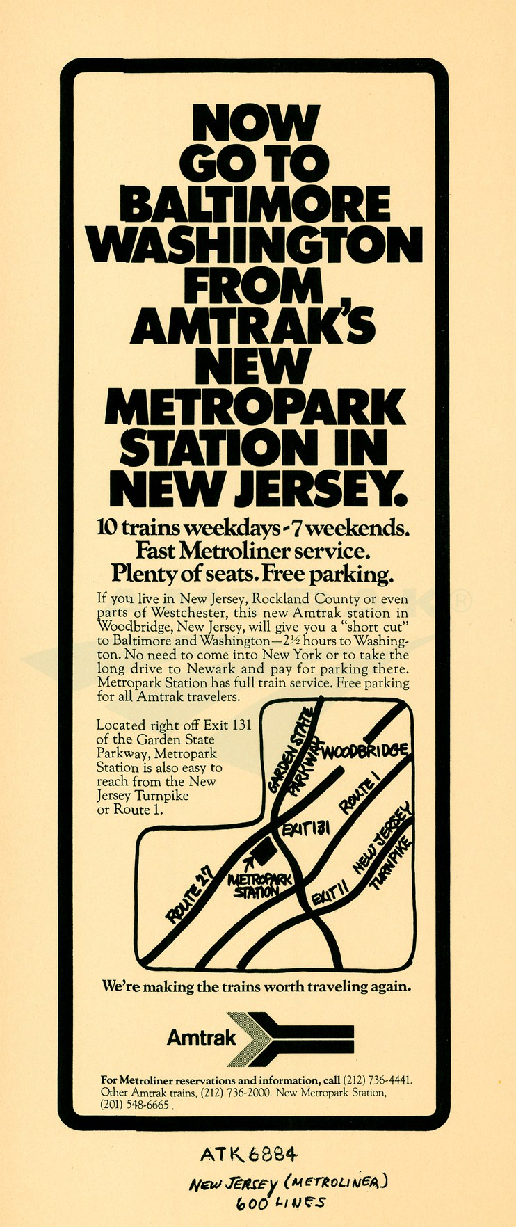 """Now Go To Baltimore Washington From Amtrak's New Metropark Station"" advertisement, 1971."
