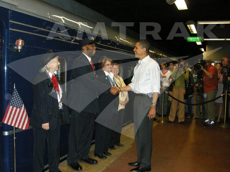 President Obama greets train crew.