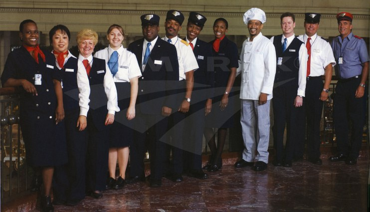 Onboard and Station Services employees in new uniforms, 2006.