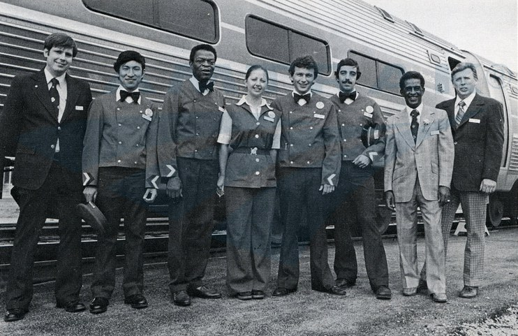 Onboard Service crew of the inaugural special <i>Pioneer</i>, 1977.