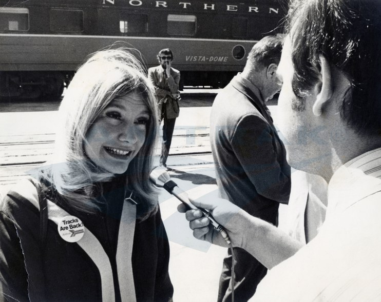 Passenger Service Representative Tricia Saunders being interviewed, 1972.