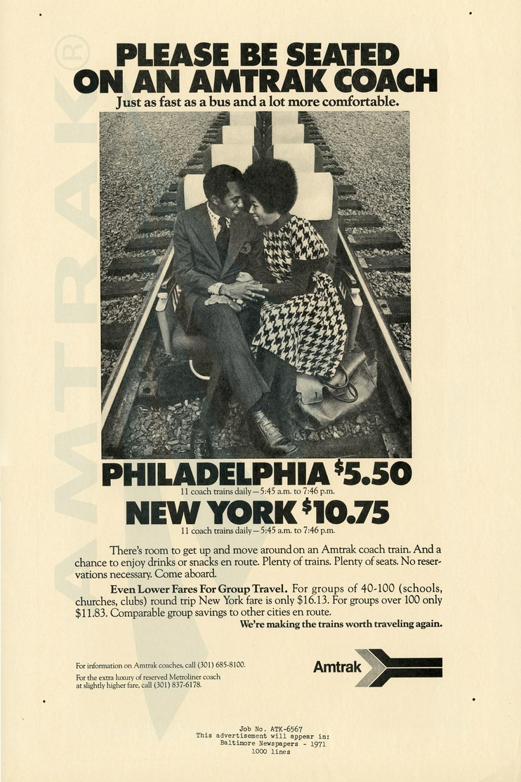 """""""Please Be Seated On An Amtrak Coach"""" advertisement, 1971."""