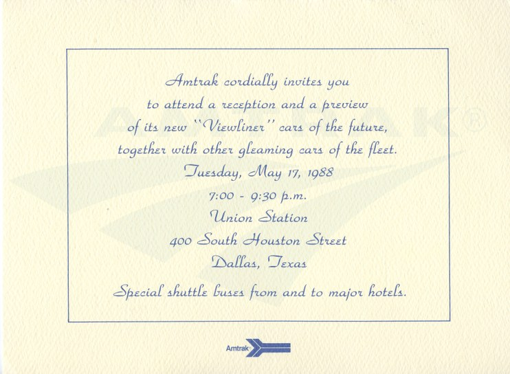 Prototype Viewliner preview invitation, 1988.