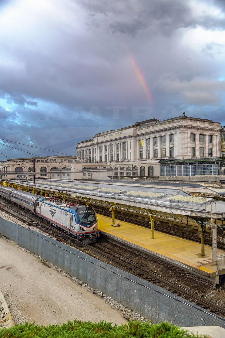 Rainbow over Baltimore Penn Station, 2014.