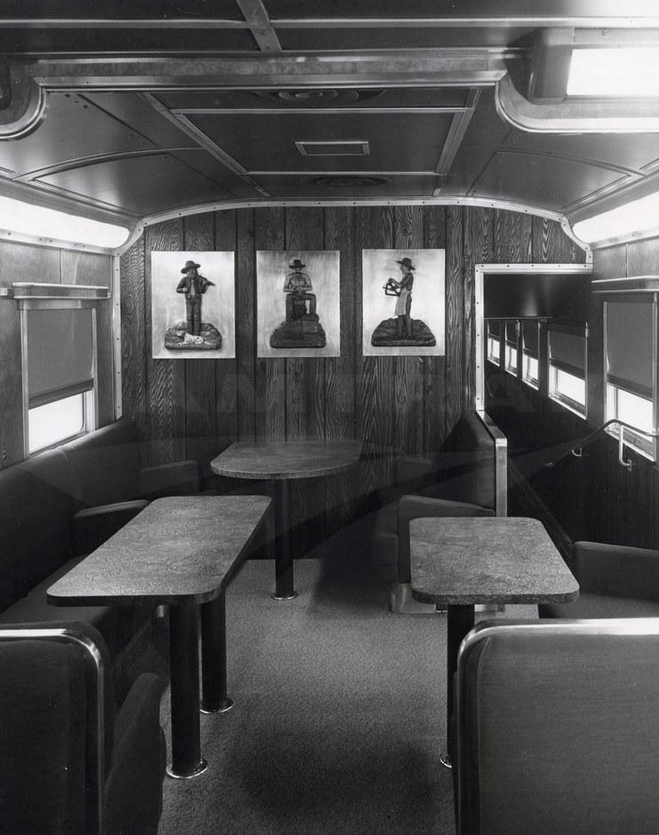 Ranch-dorm car on the <i>North Coast Hiawatha</i>, 1970s.