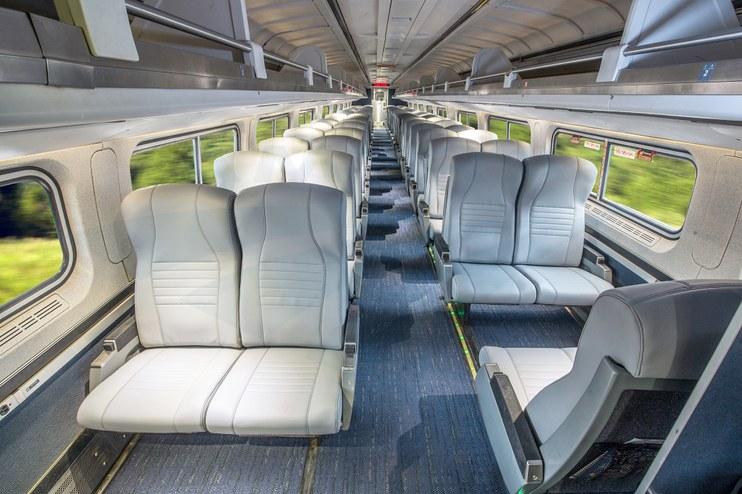 Refreshed Amfleet I coach class car interior, 2017.