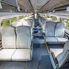 Refreshed Amfleet I coach class car interior, 2017.