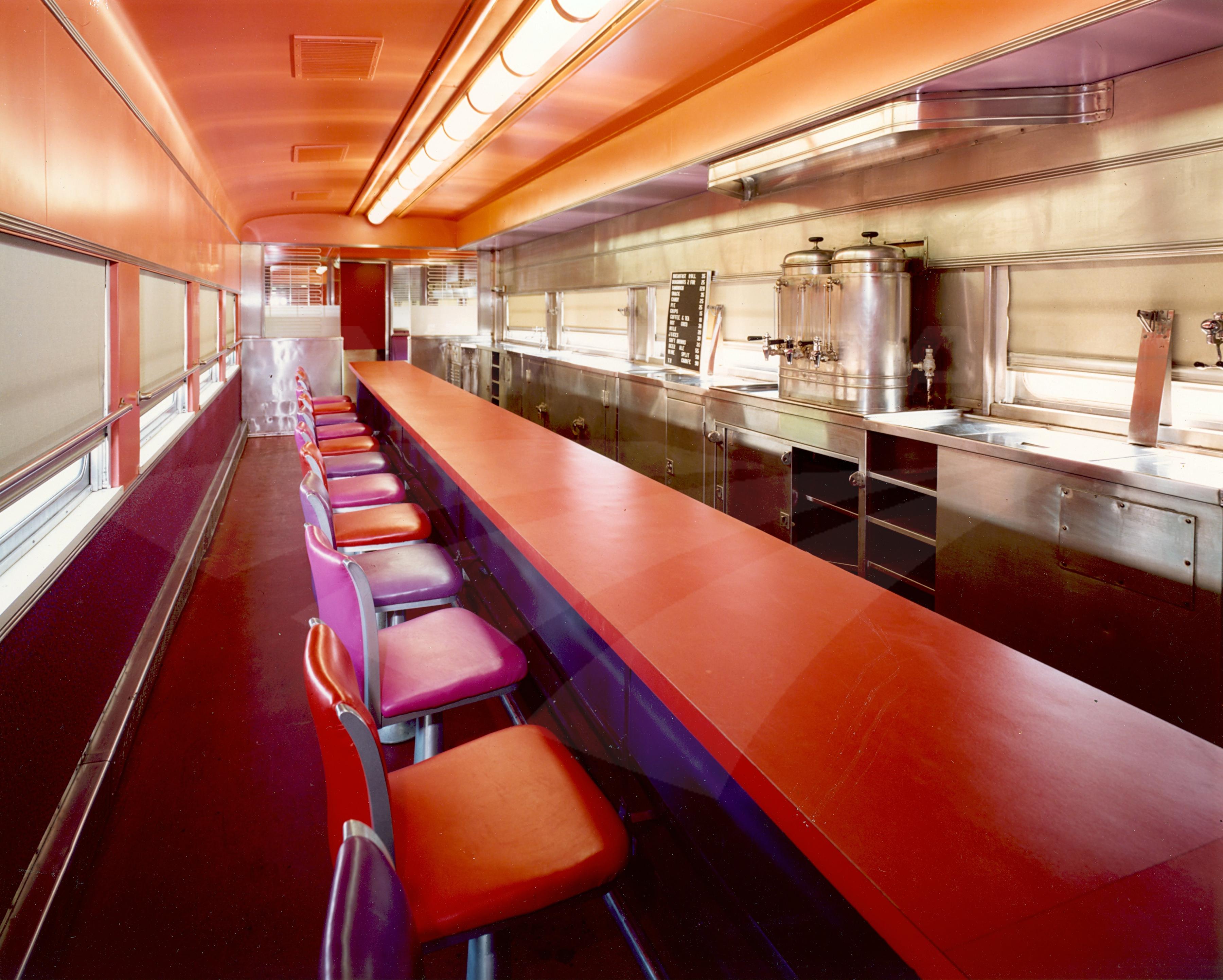refurbished lunch counter diner dorm car no 8117 1970s amtrak history of america s railroad. Black Bedroom Furniture Sets. Home Design Ideas