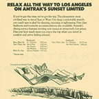 """Relax All The Way To Los Angeles On Amtrak's <i>Sunset Limited</i>"" advertisement, 1972."